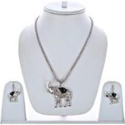 Lucky Jewellery Designer Oxidised German Silver Plated Black Color Elephant Design Navratri Garba Jewelry Pendant Locket Set With Matching Earring Girls & Women (175-CHL1O-LJ634-BL-S)