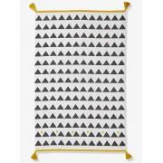 VERTBAUDET Tapete com borlas e triângulos branco claro liso com motivo