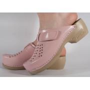 Saboti/Papuci roz deschis din piele naturala dama/dame/femei (cod PU-161)