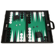 19 Inch Premium Backgammon Set Large Size Black Board, Green Playing Surface, Black And White Points