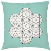 Geometric Star Print Cushion - Teal - Smooth Linen - Teal