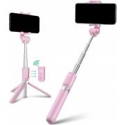DrPhone Wolf Series Bluetooth Selfiestick – Uitschuifbaar statief met draadloze afstandsbediening – Mini Pocket – Uitschuifbaar statief 360 graden rotatie – Geschikt voor iPhone 8/7/6 / Android Samsung Galaxy S8 / S7 Plus / meer – Roze