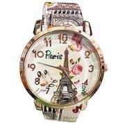Latest Womens New Paris Eiffel Tower Print Golden Round Dial Ladies Girls Analog Watch