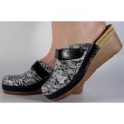 Saboti/Papuci negru cu alb din piele naturala dama/dame/femei (cod 1003)