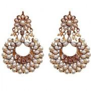 Lucky Jewellery Ethnic White Color Gold Plating Kundan Earring For Girls & Women
