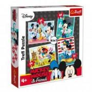 Puzzle Trefl Mickey Mouse si prietenii 4 in 1