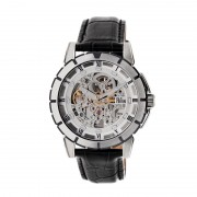 Reign Philippe Automatic Skeleton Leather-Band Watch - Silver/Silver/Black REIRN4603