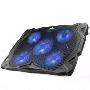 "TeckNet Rustige Laptop Cooling Pad Stand Met 5 Fans op 1500 RPM en Blauw LED Laptop Koeler past 12 ""-17"", verstelbare Windsnelheid"