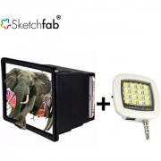 Sketchfab Combo of F2 Mobile Phone 3D Screen Magnifier Portable Mini 16 LED Selfie Flash Light - Assorted Color