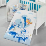 Lenjerie pat baby Ocean Mally Kids 100 bumbac