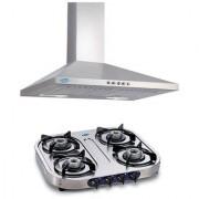 Glen Kitchen GL 6075 SS 750 m3/hr 60 cm Hood Chimney+ Glen 1044 Stainless steel 4 Burner Gas Stove COMBO OFFER