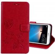 Para Huawei Mate 10 Lite Rosa En Relieve Horizontal Flip Environmental PU Funda De Cuero Con Soporte Y Ranuras Para Tarjetas Y Cartera (rojo)