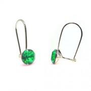 925 ezüst fülbevaló ékszer Swarovski® kristállyal - vékony, Peridot