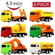 Clastik Construction Unbreakable ABS Plastic Friction Powered Kids Automobile Toy-Set - Dumper + JCB + Cement Mixer + Transport Truck Set -Set of 6