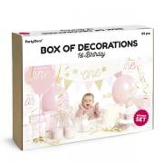 Party csomag, 1 éves születésnapra, 33 darabos, rózsaszín