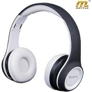 METTLE Bluetooth Headphone with Built-in Mic Extra Booster Bass +FM + Memory Card-Dolby Sound Surround- WHITE Color.
