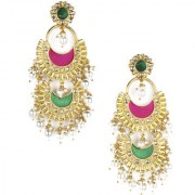 Rubans Multilayer Gold Toned Enamel And Pearl Chanbali Earrings