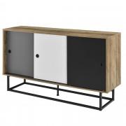 [en.casa] Komoda AANT-0334 - imitace dřeva, černá, šedá, bílá - 140x35x80 cm - MDF, ocel