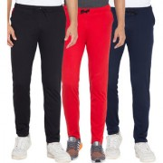 Cliths Navy Blue Black And Red Cotton Trackpants For Men's (Pack Of 3)