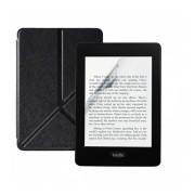 Set 2 in 1 pentru eBook Reader Kindle Paperwhite 2018 10th generation cu husa KRASSUS flip cover tip origami si folie ecran, negru