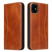 Genuine Leather Wallet Phone Cover for Apple iPhone 11 Pro Max 6.5 inch - Brown