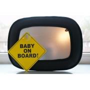 Verstelbare baby monitor spiegel voor in de auto inclusief Baby on board bordje - Baby backseat car mirror with baby on board sign - Baby Autospiegel – Baby Spiegel voor in de Auto – Spiegel aan de Hoofdsteun van de Auto -