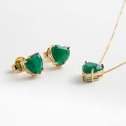 Conjunto Coração Médio em Cristal Verde Esmeralda fosco com banho em Ouro Amarelo
