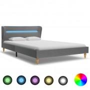 vidaXL Рамка за легло с LED, светлосива, плат, 140x200 см