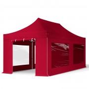Intent24.fr Tente pliante 3x6m PES 400 g/m² rouge imperméable barnum pliant, tonnelle pliante