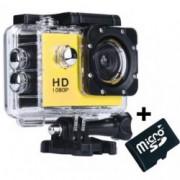 Camera Sport iUni Dare 50i HD 1080P 12M Waterproof Galben + Card MicroSD 8GB Cadou Bonus Bratara Roca Vulcanica unisex