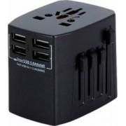 Adaptor incarcator convertor priza universal de calatorie cu 2 x USB All in One pentru EU USA UK negru