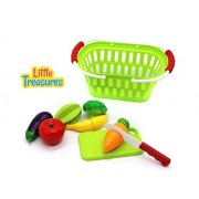 Little Treasures Fruits and Vegetables Shopping Basket Pretend Play Food Kitchen Toy Playset for Boys and Girls Playtime