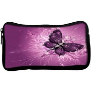 Snoogg Butterfly graphic purplePoly Canvas Student Pen Pencil Case Coin Purse Utility Pouch Cosmetic Makeup Bag