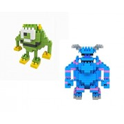 GeekGoodies Micro Building Construction Blocks Assembly Game Puzzle Kids Toy - Blue Monster + Green Monster - Set of 2