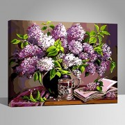with wood frame, flower-143: Wood Frame, Paint by Numbers DIY Oil Painting Purple Flowers Canvas Print Wall Art Home Decoration by Rihe