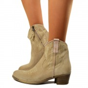 Stivaletti Texani Donna in Camoscio Beige Made in Italy T: 36, 37, 38, 39