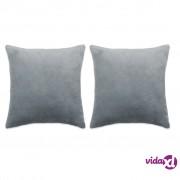 vidaXL Set jastuka od velura 2 kom 45x45 cm sivi