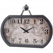 Home Styling Collection Nástěnné hodiny WORLD MAP, 50 x 40 cm - kovový