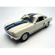 1966 Shelby Mustang GT 350 White with Blue Stripes 1/18 by Shelby Collectibles SC160