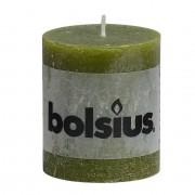 Bolsius Stompkaars rustiek 8x7 cm olijfgroen