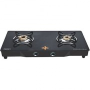 Chef Pro Premium Plus CBS782 Glass Cook Top with Powder Coating 2 Burner Gas Stove (Black) - Auto Ignition