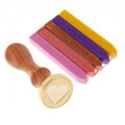 ELECTROPRIME® Initial Sealing Wax Stamp Seal Heart+5 Candle Cord for Xmas Party Invitation