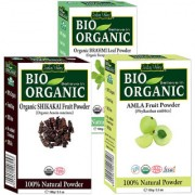 Indus Valley BIO Organic Herbal Amla Shikakai Brahmi Powder- Combo Pack of 3-in-1