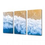 Tablou Canvas Premium Peisaj Multicolor Valurile apei pe plaja Decoratiuni Moderne pentru Casa 3 x 70 x 100 cm