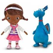 "Disney Store/Disney Jr. Doc McStuffins Plush Doll Gift Set Including 12 1/2"" Dottie (The Doc) and 8 1/2"" Stuffy the Blue Dragon Stuffed Animal Toys"