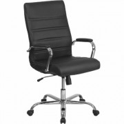 Flash Furniture High-Back Leather Office Chair with Chrome Arms - Black, Model GO2286HBK