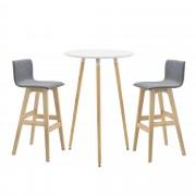 [en.casa]® Mesa de bar Ø 70 x 107 cm - Set de 2 Taburetes altos - 98 x 48 x 49 cm - Conjunto de muebles de Cocina Comedor - Diseño Retro - Mesa Blanco - Sillas Grises con patas de Haya