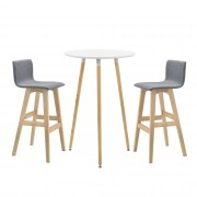 [en.casa]® Комплект кръгла бар маса с 2 стола, Retro дизайн ,98 x 48 x 49cm, Бял