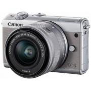 Aparat Foto Mirrorless Canon EOS M100 + Obiectiv EF-M 15-45mm, F/3.5-6.3 IS STM, 24.2MP, Full HD + Irista 50GB (Gri)