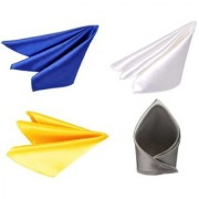 Voici France Royal Blue White Yellow and Silver satin Solid Pocket Square Combo Pack of 4